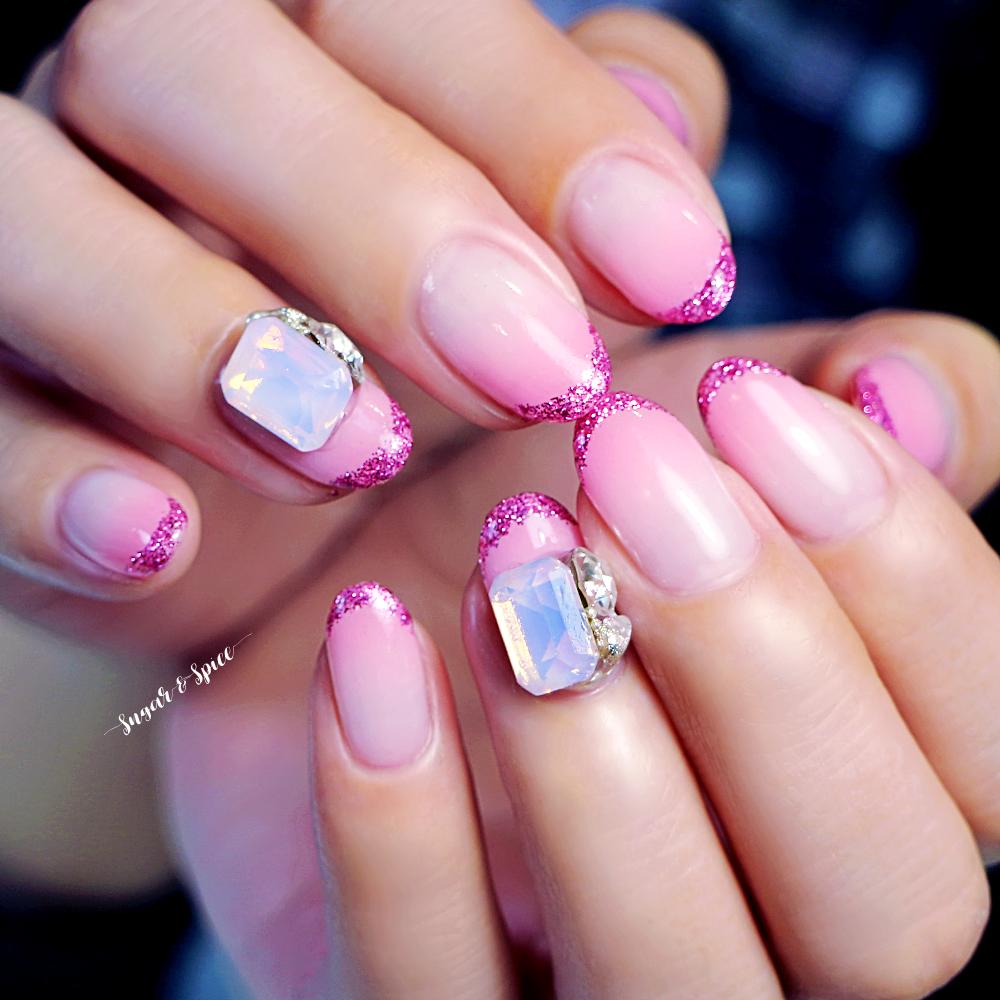 ピンク ラメフレンチ