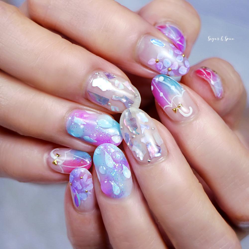 梅雨「紫陽花と傘」